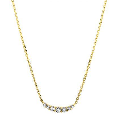 14 kt sárga arany nyaklánc 7 gyémánttal 4B155G4-1