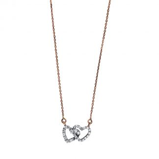 14 kt vörös arany / fehérarany nyaklánc 25 gyémánttal 4F231RW4-1