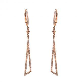 14 kt vörös arany fülbevaló 124 gyémánttal 2D415R4-3