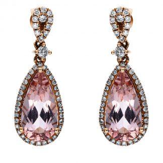 14 kt vörös arany fülbevaló 92 gyémánttal