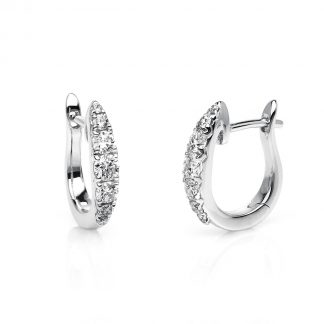 14 kt white gold hoops & huggies with 14 diamonds 2D034W4-1