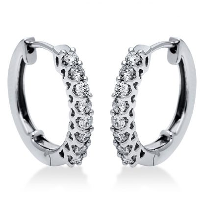 14 kt white gold hoops & huggies with 16 diamonds 2I864W4-1