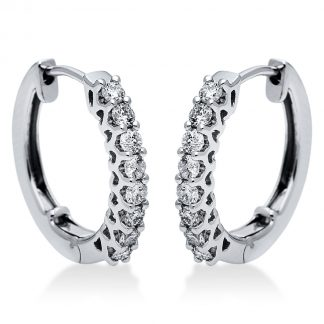 14 kt white gold hoops & huggies with 16 diamonds 2I864W4-2
