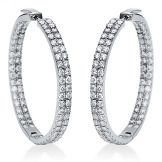 14 kt white gold hoops & huggies with 172 diamonds 2I336W4-2