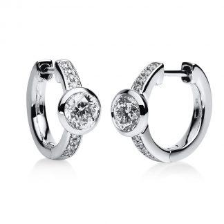 14 kt white gold hoops & huggies with 18 diamonds 2B654W4-2