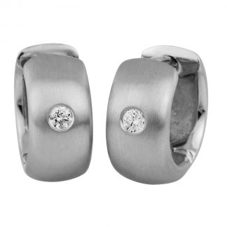 14 kt white gold hoops & huggies with 2 diamonds 2A024W4-2