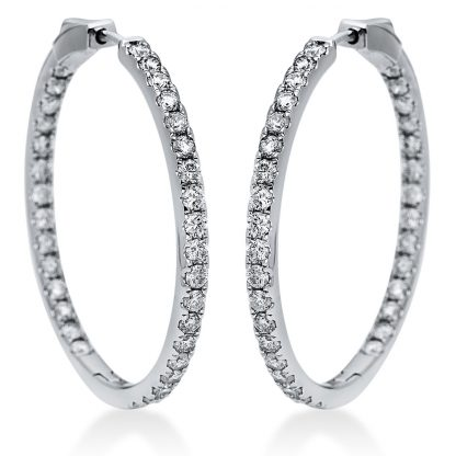 14 kt white gold hoops & huggies with 66 diamonds 2I863W4-1