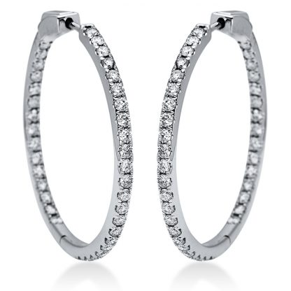 14 kt white gold hoops & huggies with 74 diamonds 2I862W4-2
