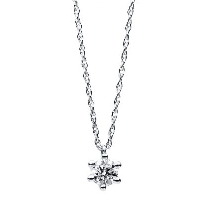 14 kt white gold necklace with 1 diamond 4B412W4-5