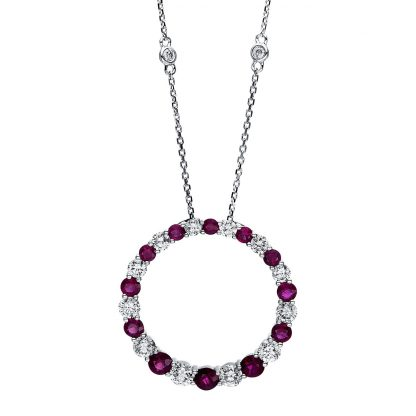 14 kt white gold necklace with 14 diamonds