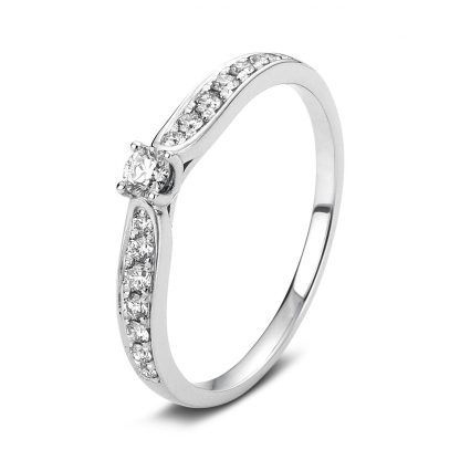 14 kt white gold solitaire with side stones with 15 diamonds 1A429W456-1