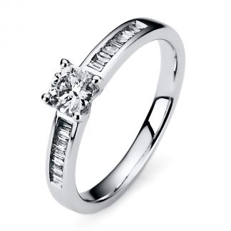 14 kt white gold solitaire with side stones with 17 diamonds 1A184W453-1