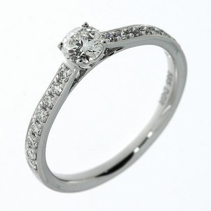 14 kt white gold solitaire with side stones with 17 diamonds 1A416W454-1