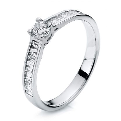 14 kt white gold solitaire with side stones with 19 diamonds 1A283W454-1