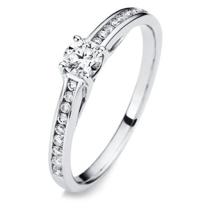 14 kt white gold solitaire with side stones with 19 diamonds 1A308W454-1