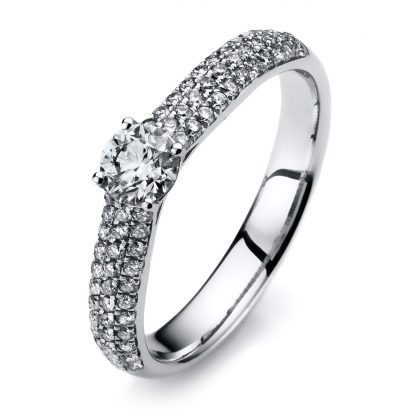 14 kt white gold solitaire with side stones with 67 diamonds 1A417W453-1