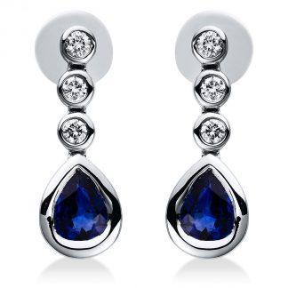 18 kt fehérarany fülbevaló 6 gyémánttal