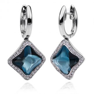 18 kt fehérarany fülbevaló 64 gyémánttal