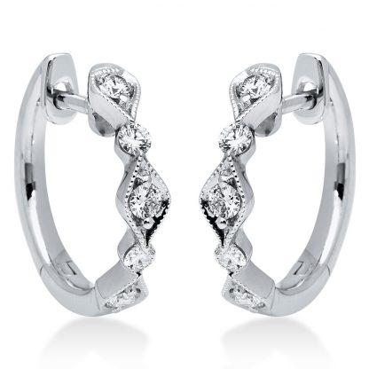 18 kt fehérarany karika és huggie 10 gyémánttal 2I179W8-1