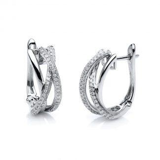 18 kt fehérarany karika és huggie 146 gyémánttal 2A478W8-1