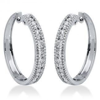 18 kt fehérarany karika és huggie 164 gyémánttal 2I170W8-1