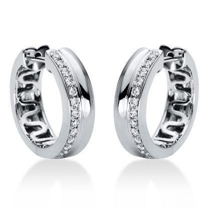 18 kt fehérarany karika és huggie 26 gyémánttal 2I978W8-3
