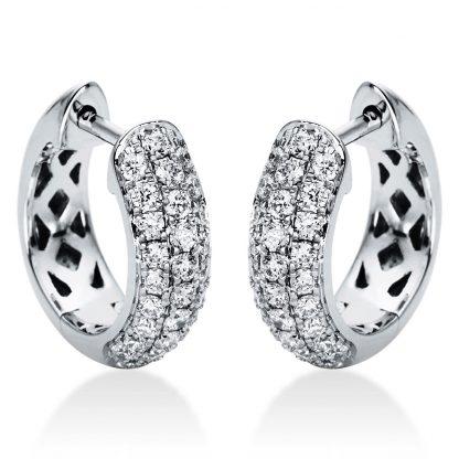 18 kt fehérarany karika és huggie 56 gyémánttal 2I971W8-1