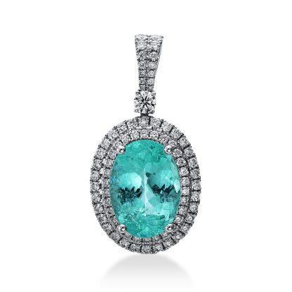 18 kt fehérarany medál 77 gyémánttal