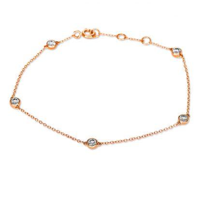 18 kt red gold bracelet with 5 diamonds 5B823R8-2