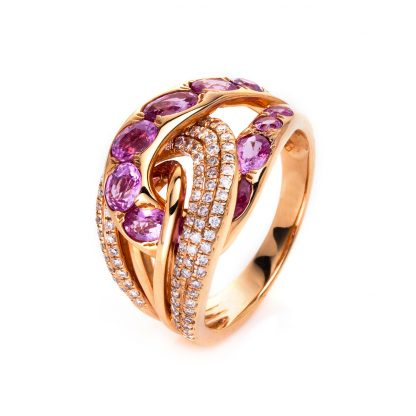 18 kt red gold color stone with 87 diamonds
