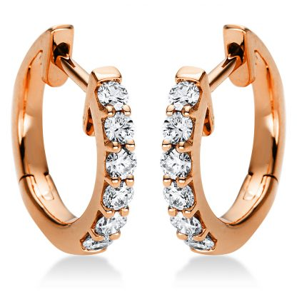 18 kt red gold hoops & huggies with 12 diamonds 2C836R8-1