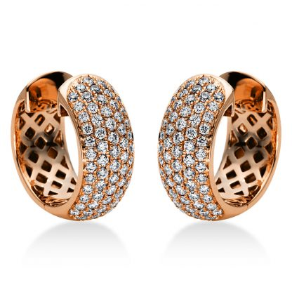 18 kt red gold hoops & huggies with 128 diamonds 2I969R8-1