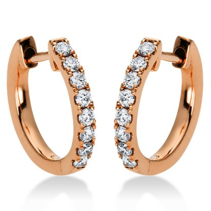 18 kt red gold hoops & huggies with 16 diamonds 2I874R8-1