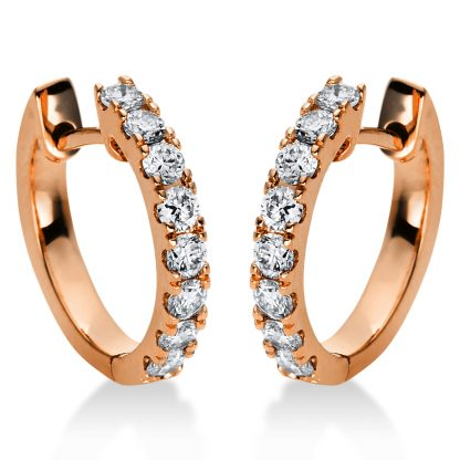 18 kt red gold hoops & huggies with 16 diamonds 2I882R8-1