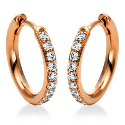 18 kt red gold hoops & huggies with 20 diamonds 2I015R8-1