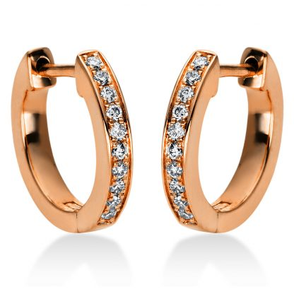18 kt red gold hoops & huggies with 20 diamonds 2I877R8-1