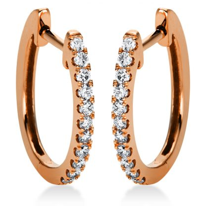 18 kt red gold hoops & huggies with 22 diamonds 2C424R8-2