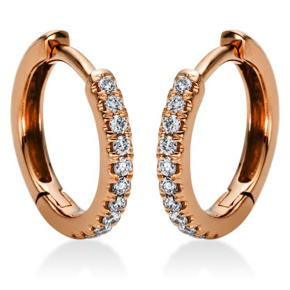18 kt red gold hoops & huggies with 22 diamonds 2I948R8-1