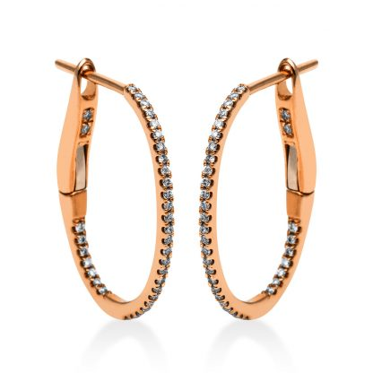 18 kt red gold hoops & huggies with 70 diamonds 2F911R8-2