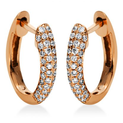18 kt red gold hoops & huggies with 88 diamonds 2I981R8-1