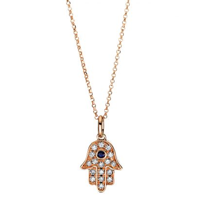 18 kt red gold necklace with 17 diamonds