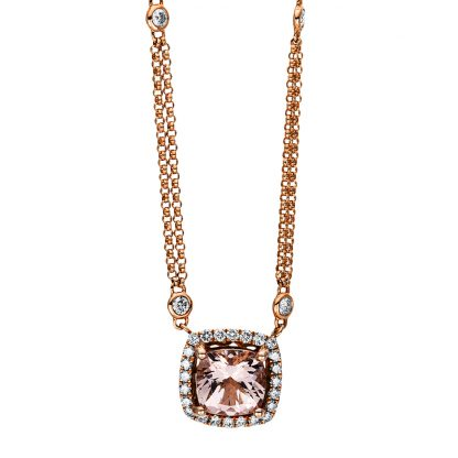 18 kt red gold necklace with 32 diamonds
