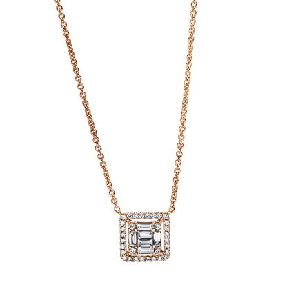 18 kt red gold necklace with 38 diamonds 4F379R8-1