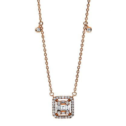 18 kt red gold necklace with 39 diamonds 4F099R8-1