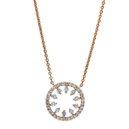 18 kt red gold necklace with 41 diamonds 4F351R8-1