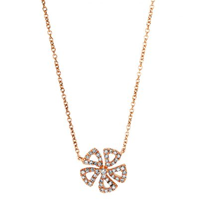 18 kt red gold necklace with 48 diamonds 4F541R8-1
