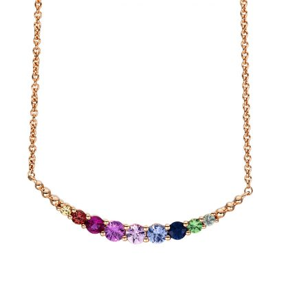 18 kt red gold necklace with 5 color stones 4F393R8-1