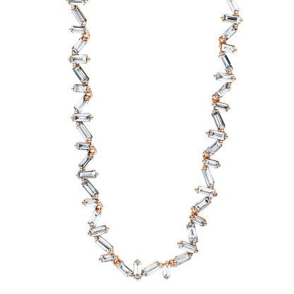 18 kt red gold necklace with 52 diamonds 4F380R8-1