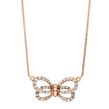 18 kt red gold necklace with 55 diamonds 4F533R8-1