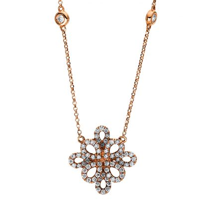 18 kt red gold necklace with 70 diamonds 4F457R8-1